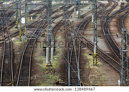 Railroad tracks line crossing. Top view - stock photo