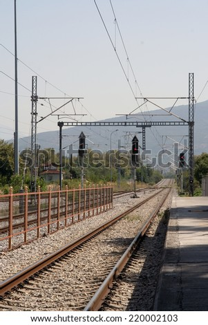 Railroad tracks. Railway tracks. Old railway station. - stock photo