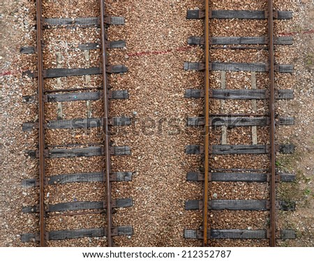 railroad tracks view from top - stock photo