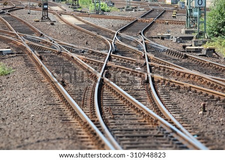 Railroad turnout point in Dusseldorf, Germany. Railway transportation infrastructure. - stock photo