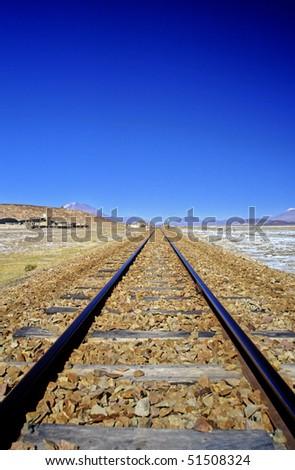 Railroadtrack on the Altiplano, Bolivia - stock photo