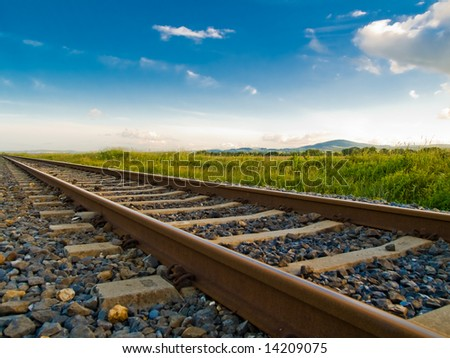 Rails close-up - stock photo