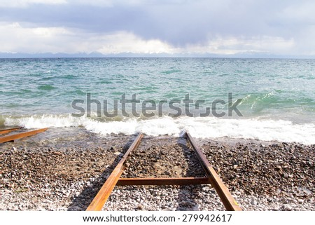 Rails for launching boats into the water - stock photo