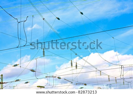 rails in winter at the station - stock photo