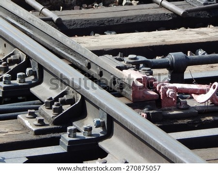 rails, railroad switch - stock photo
