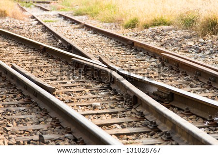 Railway and Crossing rail track - stock photo