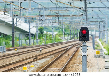 Railway and signal light - stock photo