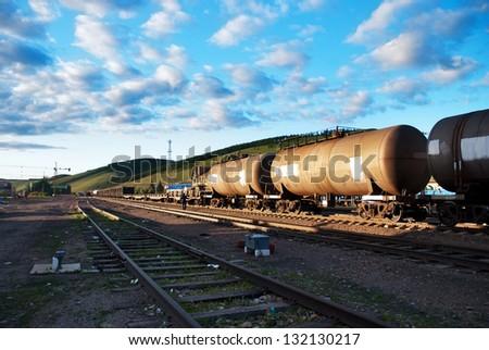 railway and train - stock photo