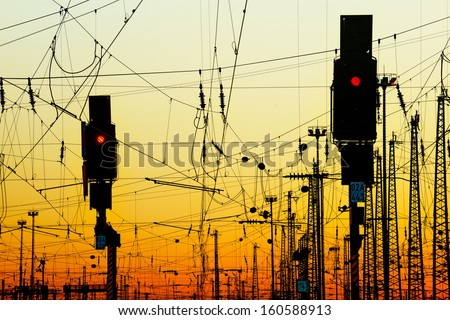 Railway at Sunset. - stock photo