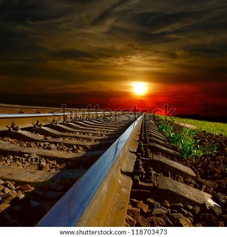railway at the sunset - stock photo