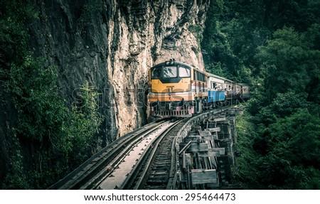 Railway Bridge tham krasae Kanchanaburi thailand. - stock photo