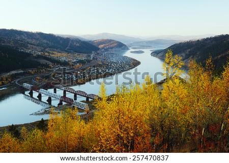 Railway bridge through the Selenga River near the Mostovaya station in the suburbs of Ulan-Ude. - stock photo