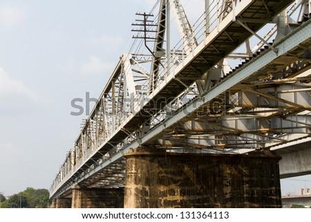 Railway bridge trusses on Chao Phraya River,Thailand - stock photo