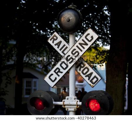 railway crossing - stock photo