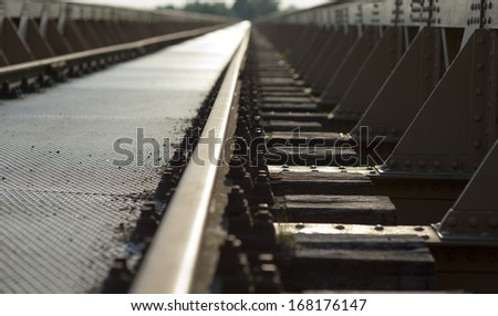 railway disappearing in the distance - stock photo