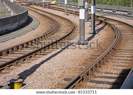 railway in city - stock photo