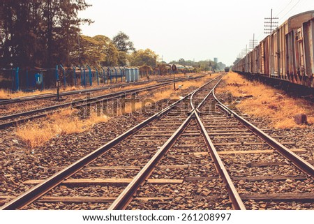 railway in thailand chic film style - stock photo