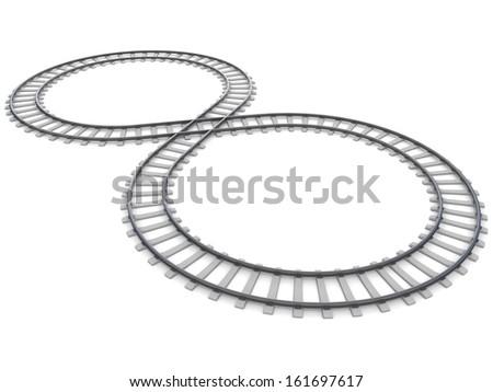 railway isolated on white  - stock photo
