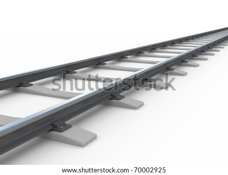 Railway isolated on white - stock photo