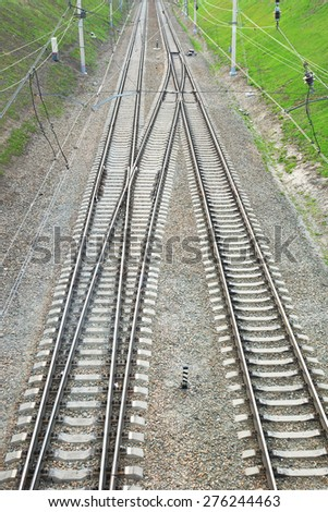 Railway lines. View from above - stock photo