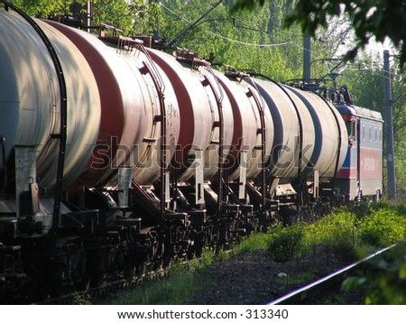 railway oil tanker - stock photo