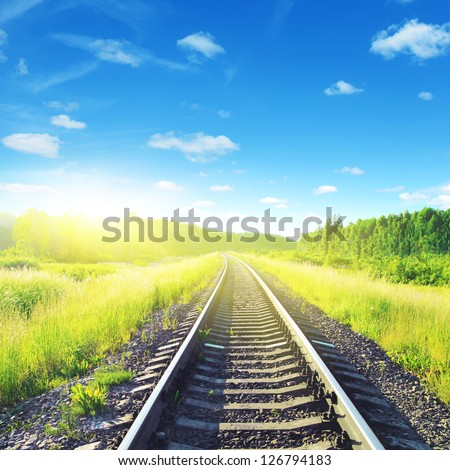 Railway on sunny summer day. - stock photo