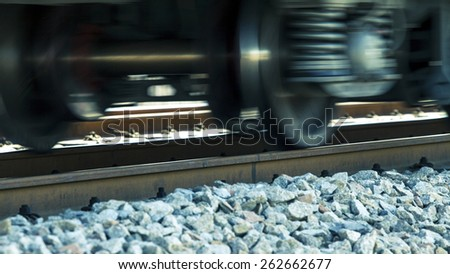 Railway or railroad tracks for train transportation - stock photo