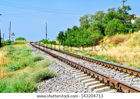railway; railroad - stock photo