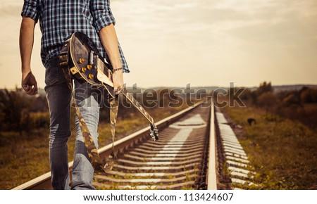 railway road to horizon - stock photo