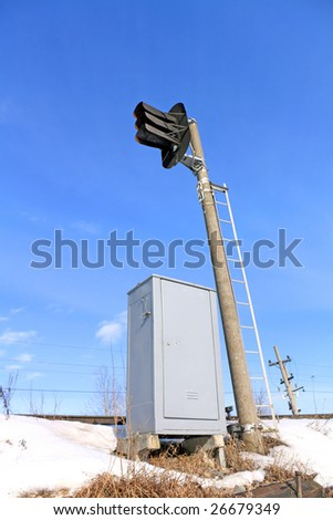 railway semaphore - stock photo