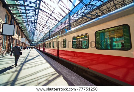 Railway station in Helsinki Finland. Wide angle view. - stock photo