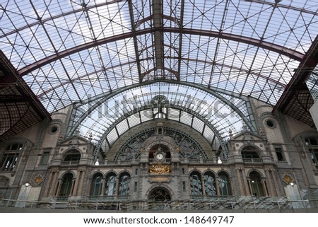 Railway station interior in Antwerpen, Belgium  - stock photo