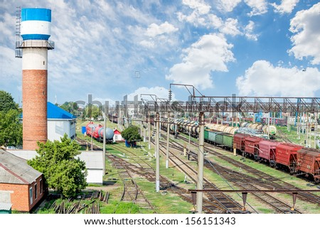 Railway station is photographed from above - stock photo