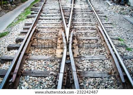 Railway switch point. When the train arrive some where. need to change from the line to other line. every destination point of transportation - stock photo