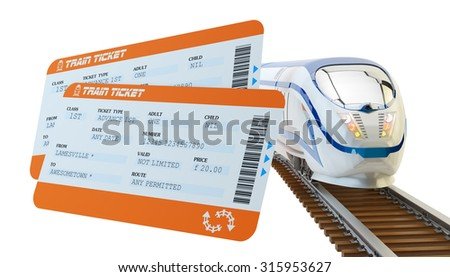 Railway tickets booking and railroad travel concept, train tickets and modern high speed passenger train on tracks isolated on white background - stock photo
