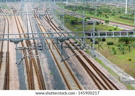 railway to the railway station at china. - stock photo