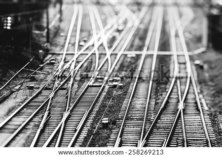 Railway, top view, selective focus image. Edited in black and white - stock photo