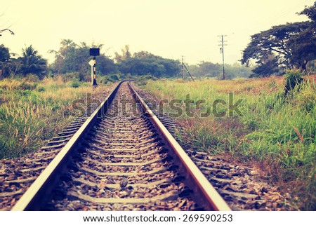 railway track in thailand - stock photo