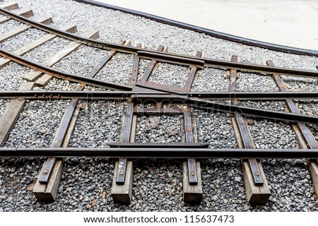 Railway track junction on a gravel bed. - stock photo