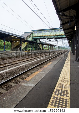 Railway track station in Japan - stock photo