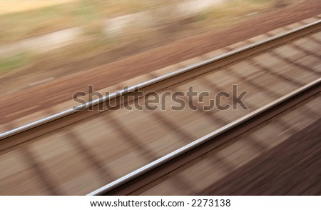 Railway track with high speed motion blur - stock photo