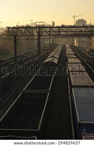 Railway tracks at dawn in the port of Odessa, Ukraine  - stock photo