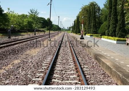 railway tracks in a rural scene : Thailand - stock photo