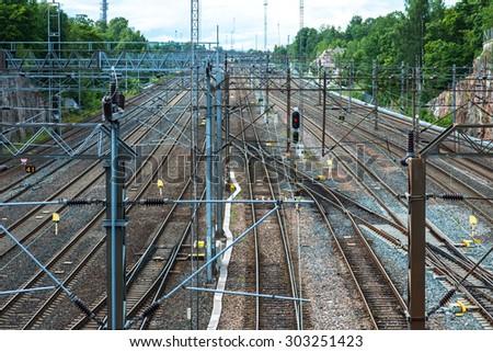 Railway tracks in Helsinki, Finland. - stock photo