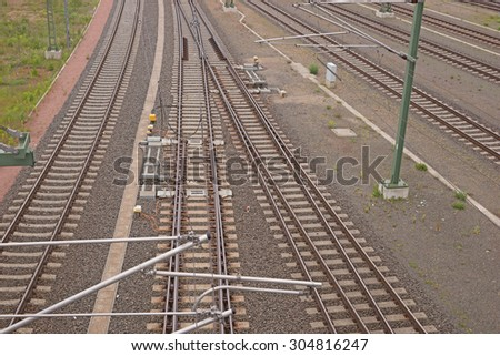 Railway tracks view from above - stock photo