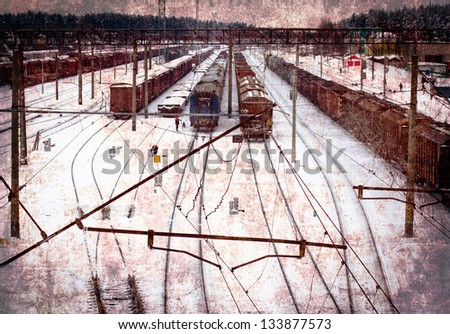 Railway/vintage card with railway tracks - stock photo