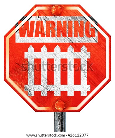 Railway warning sign, 3D rendering, a red stop sign - stock photo