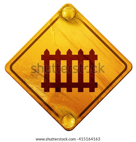 Railway warning sign, 3D rendering, isolated grunge yellow road  - stock photo
