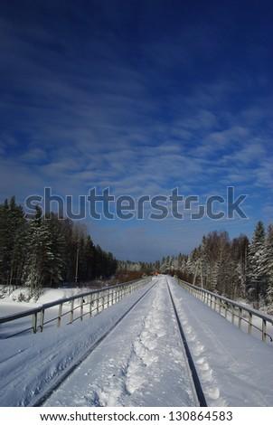 railways in the snow - stock photo