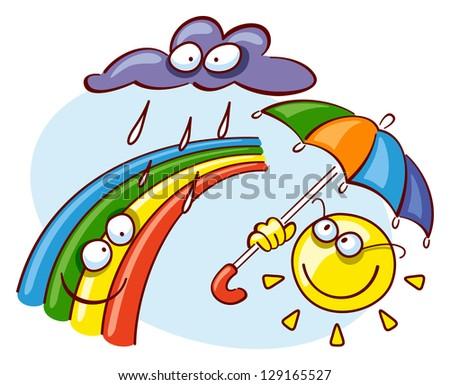 rain cloud, sun with umbrella and rainbow - raster version of vector file - stock photo